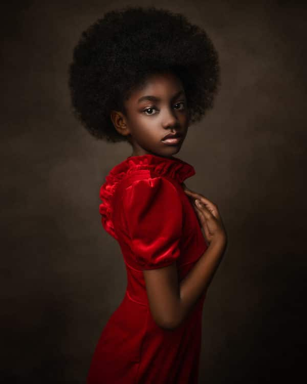 Fine Art Portrait of a Black girl in red dress