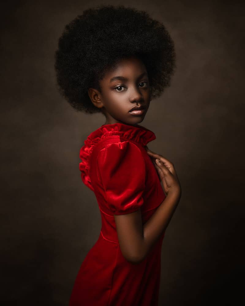 Fine Art Portrait of a Black girl in red dress