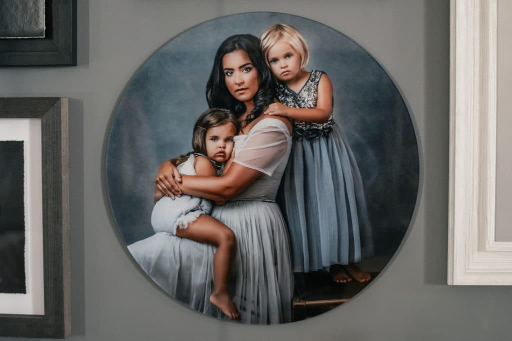 acrylic orb displayed on the studio wall